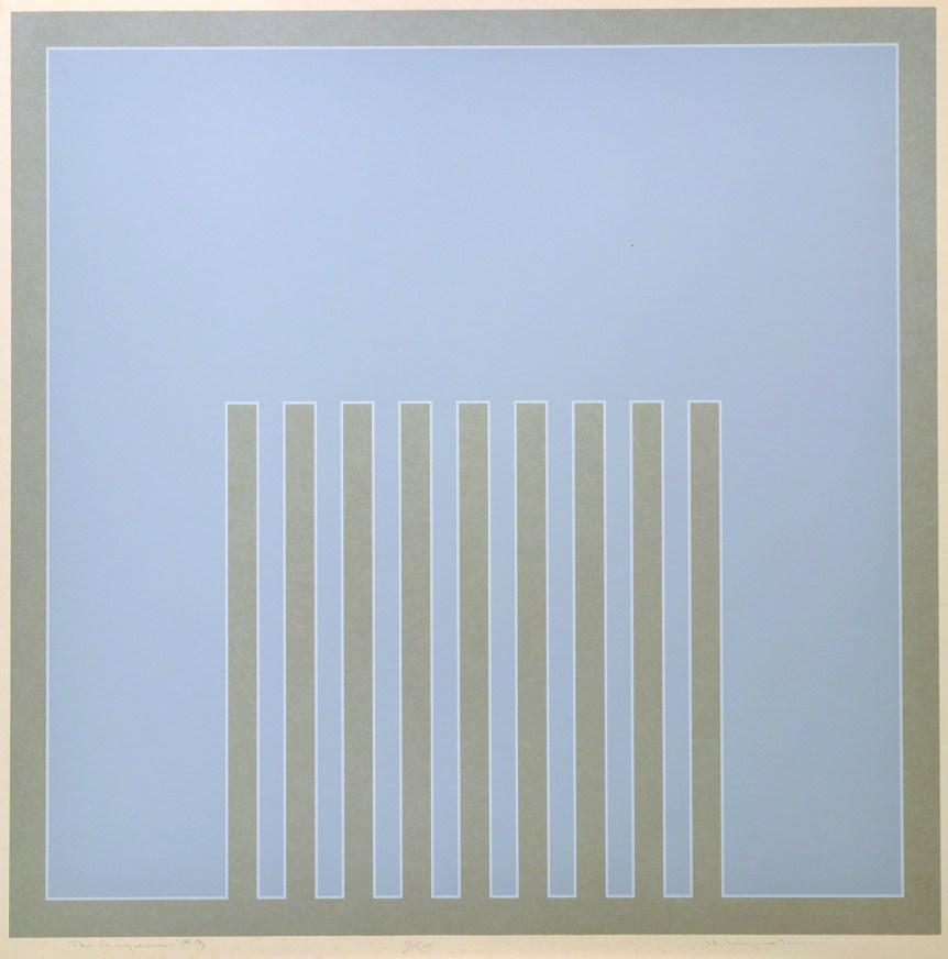 """Harry Kiyooka Aegean 26"""" x 26"""" Silkscreen and Patina on Steel"""