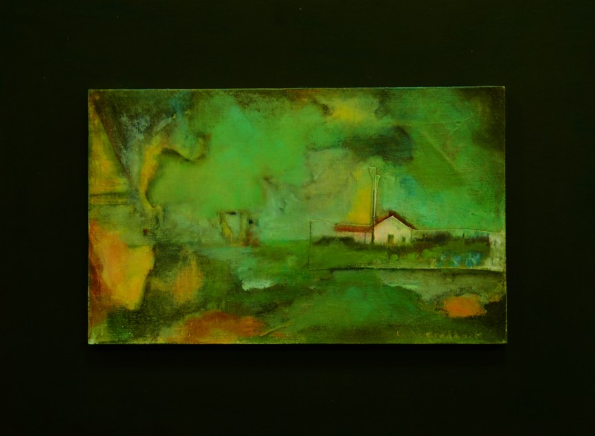 """Hometown Dreams: Change: Farmhouse in Storm"" 14"" x 19"" Mixed Media"