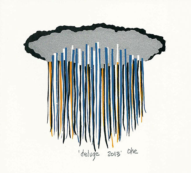 "Katie Ohe""Deluge"" 5 1/4"" x 5 1/4"" image Serigraph"