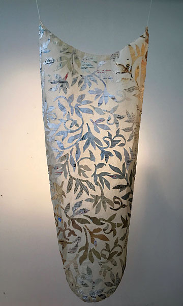 "Laura Vickerson ""Cultured Nature"" 19"" x 46"" x 5"" Gauze, Thread & Paper Discards"