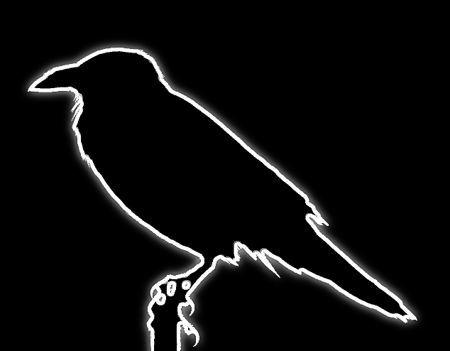 A glowing white outline of a raven sitting on a post against a black background.