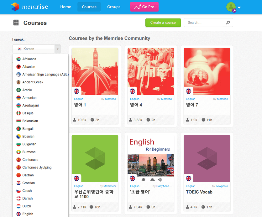 Memrise course language selection.