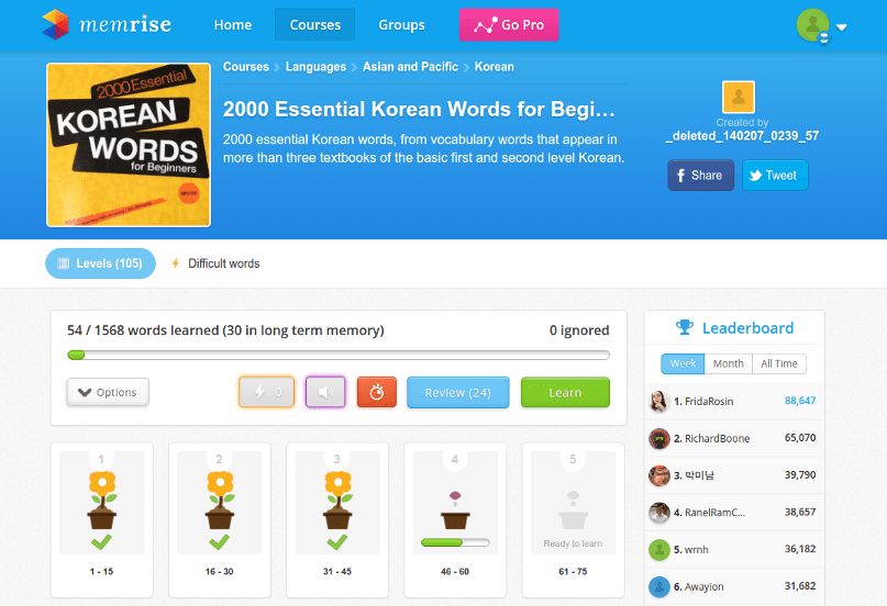 Lesson progress in a Korean course on Memrise.