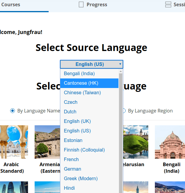 A screenshot of a pull-down menu full of source language options on Glossika.