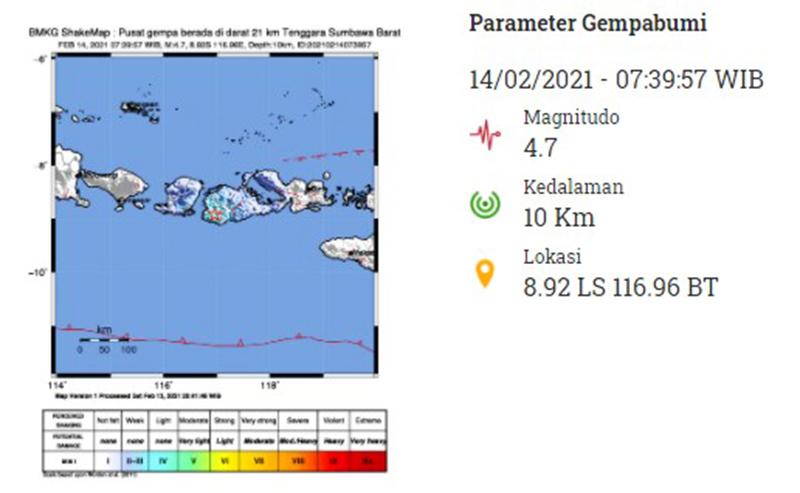 Gempa M 4,7 Guncang Sumbawa Barat, Getaran Terasa Hingga Bali