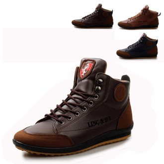 Men Fashion lace up casual high tops flat boots