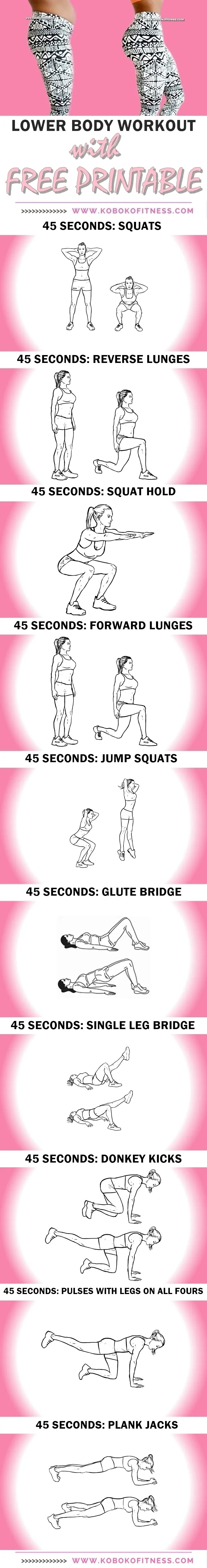 graphic about Printable Workout Plans referred to as The Least complicated 10 Working day Butt Exercise session Program (+ Cost-free Printable
