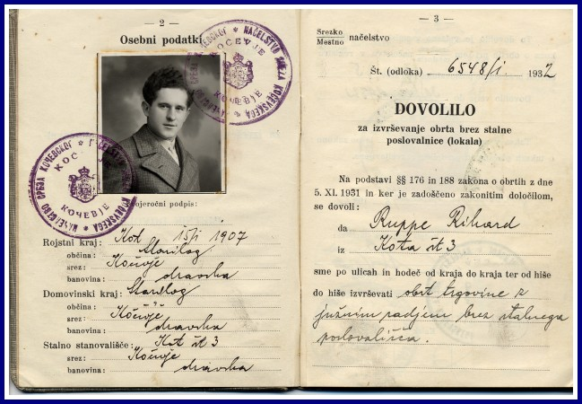 The peddling licence from 1932. Published by: www.gottscheer-gedenkstaette.at.
