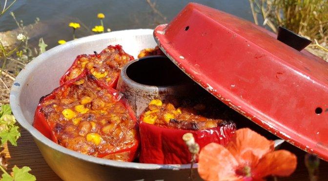 Mexikanisch gefüllte Paprikaschoten aus dem Omnia Backofen