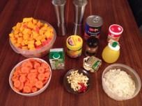 Kürbissuppe mit Ingwer und Kokusnussmilch (Zutaten)