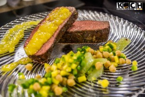Kicherbsensalat mit Roastbeef und Mangodip - www.kochhelden.tv