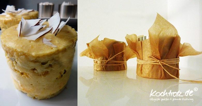 Mango-Tofu-Toertchen mit Schoko-Biskuit ohne Ei.