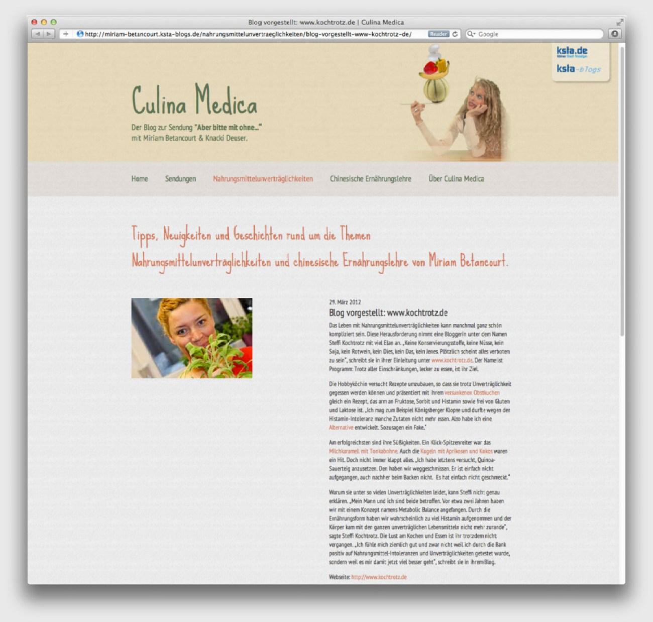 Steffi Kochtrotz gibt Ihr erstes Interview im Blog des Kölner Stadtanzeiger