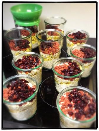 Frühstück-Vorbereitungen damit es unter der Woche schnell geht.
