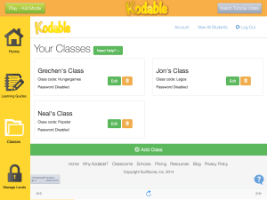 Add students to classes with Kodable
