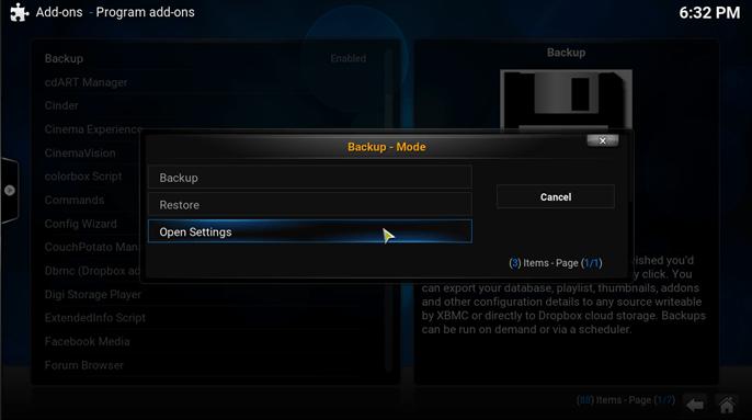 kodi backup addon open settings