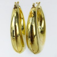 Vintage 10 Karat Yellow Gold Large Hoop Earrings.
