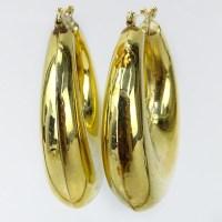 Vintage 10 Karat Yellow Gold Large Hoop Earrings. | Kodner ...