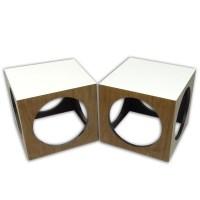 Pair of Mid Century Modern Lane Style Cube Laminate ...