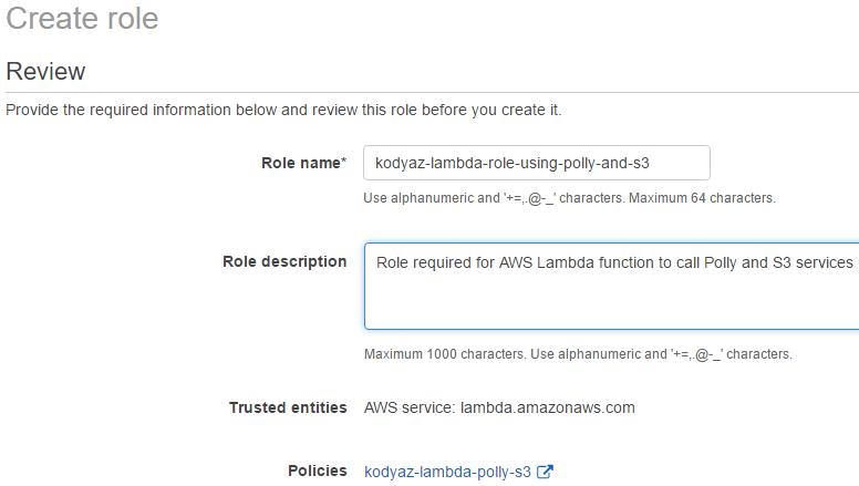 Serverless Lambda Function using AWS Polly and Amazon S3