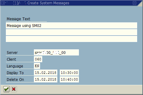 Display Messages at Logon on SAP System