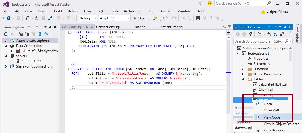 Create SQL Server Database Object Script using Visual Studio 2015