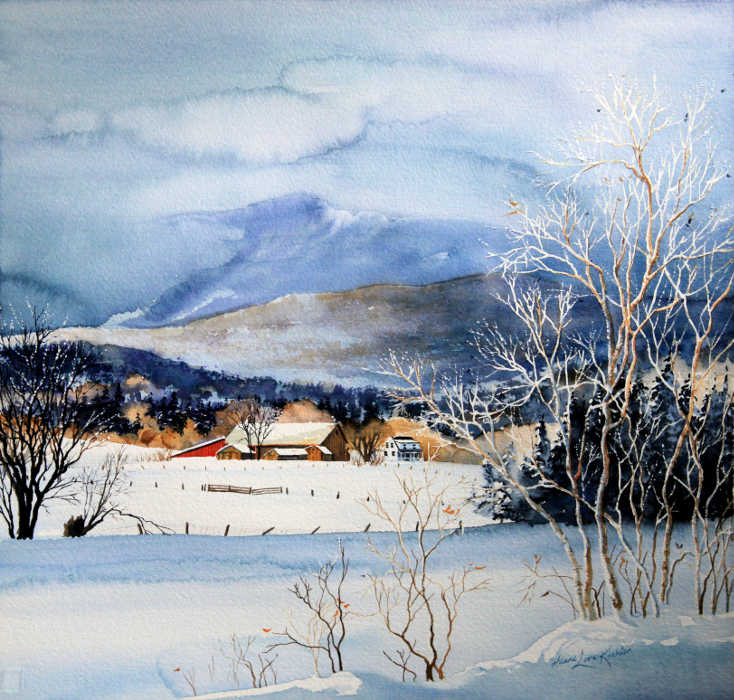 Painting Of Stowe Valley Farm In Winter