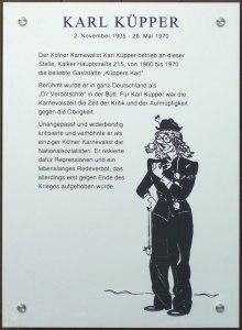 Gedenktafel für Karl Küpper am Haus Kalker Hauptstr. 215 in Köln-Kalk.