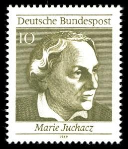 """Marie Juchacz auf einer Briefmarke zu """"50 Jahre Frauenwahlrecht in Deutschland"""" (erschienen 1969)"""