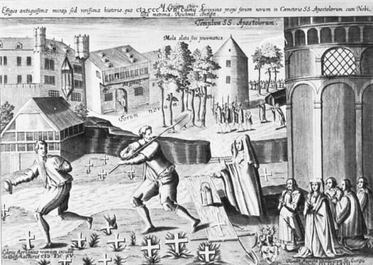 Die Richmodislegende, Zeichnung von Johann Bussemacher; 1604