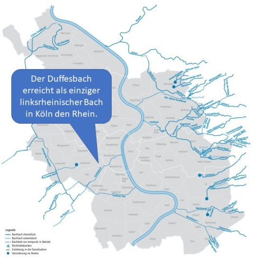 Verlauf des Duffesbachs, Karte: Stadtentwässerungsbetriebe Köln