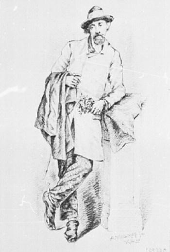 """Heinrich Peter Bock, besser bekannt als """"Maler Bock"""". Bitte beachten: Der Sporn am Stiefel weist ihn als Dragoner aus, auch wenn seine Dienstzeit nur wenige Wochen dauerte. Bild: Adolph Wallraf (1880)"""