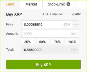 XRP kopen met ETH bij Binance