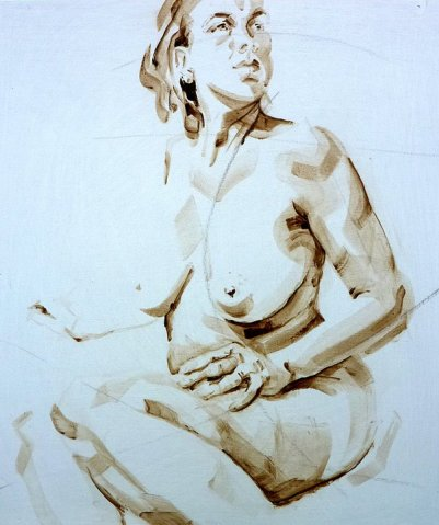 Nude Self 01| Acrylic on wooden panel | 70x50 cm