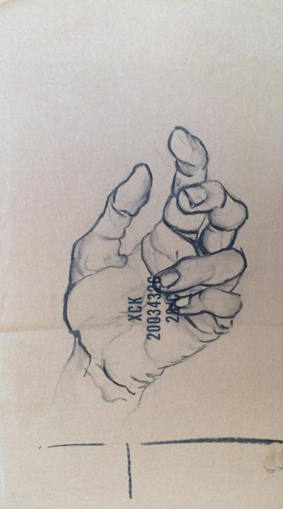 Hand | drawing on cardboard