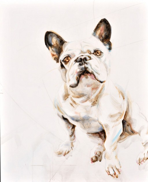 Tristan French Bulldog   acrylic on wooden panel 90x120cm   commission