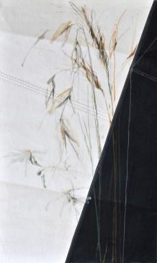 Grasses on sail | acrylic, pencil on sail | 70x100cm
