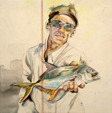 Fisherman   painting on sail