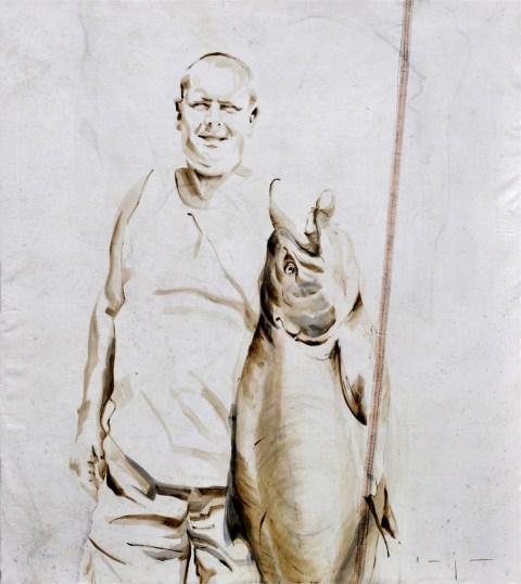 SOLD | Fisherman 09 | Acrylic on sailcloth | 80x90 cm | Kunstuitleen Alkmaar