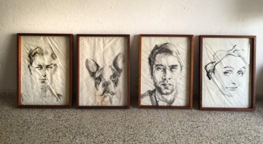 4 paintings on sail   frames handmade in Lanzarote, Carobe wood, plexiglass/perspex