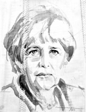 Angela Merkel  Acrylic on sailcloth   30 x 42 cm