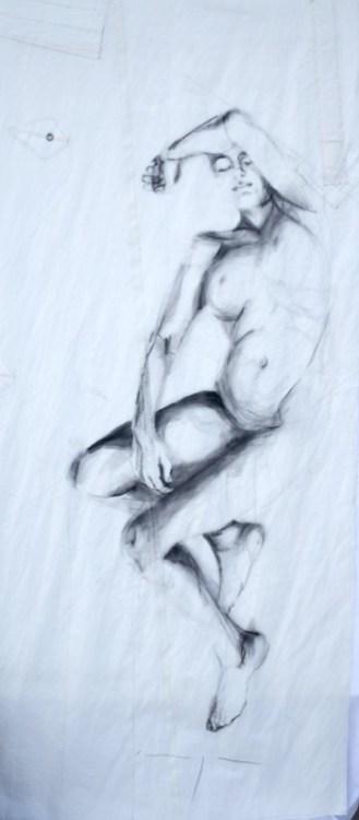 Woman Model Sail 04 | Acrylic/charcoal on sailcloth | 90x200 cm