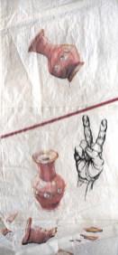 AiWeiWeiVase Peace Hand acrylic on sailcloth  90x +-200 cm