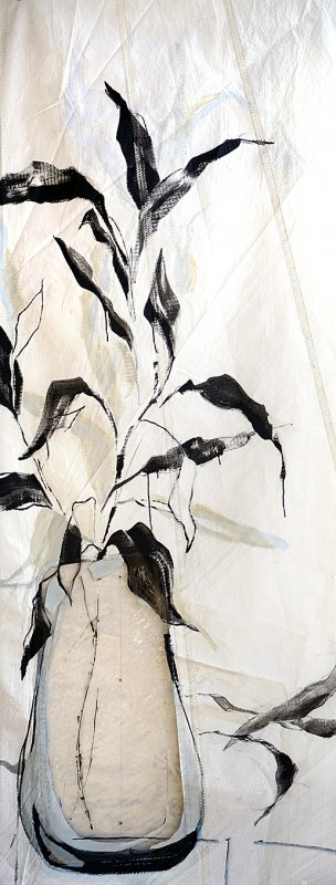 Gallery Culture of Yinbao Guangzhou Gallery China   Black leaves in plastic pot  acrylic on sailcloth  90x +-200 cm