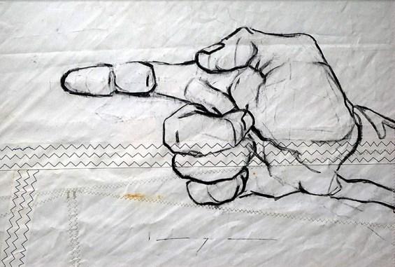 Pointing Hand  acrylic on sailcloth  50x70 cm
