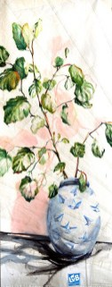 Gallery Culture of Yinbao Guangzhou Gallery China   Paper Plane Vase, pink , green leaves   acrylic on sailcloth   90x200 cm
