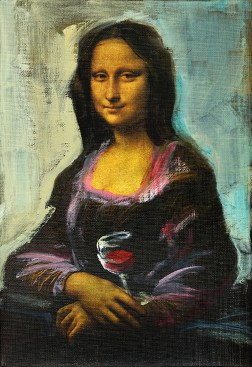 Mona Lisa with glass of wine | acrylic on canvas linnen reproduction| 20x30 cm