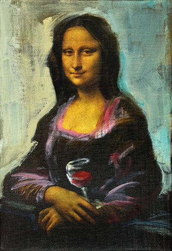 Mona Lisa with glass of wine   acrylic on canvas linnen reproduction  20x30 cm