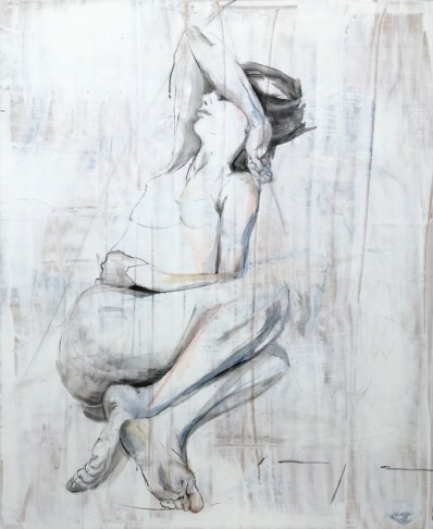 Lying with arm up | charcoal and acrylic on wood | 100x122 cm