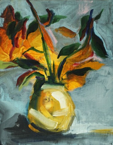 Yellow flowerpot with eye | acrylic on canvas linnen reproduction| 20x30 cm